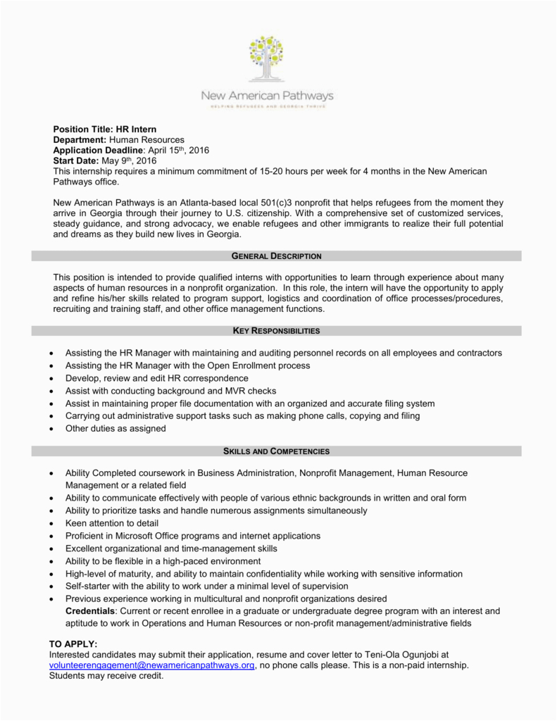 cover letter for hr internship with no