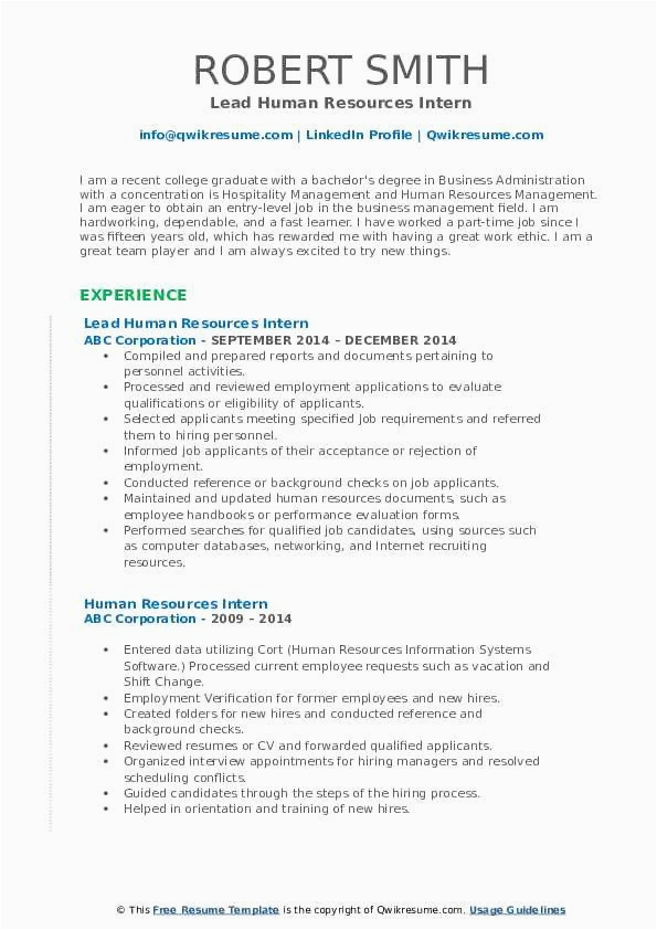 Sample Resume for Hr Internship with No Experience Entry Level Hr Resume No Experience New Human Resources