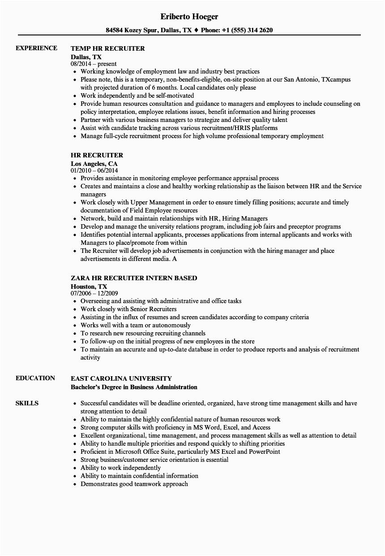 Sample Resume for Hr Recruiter Position Hr Recruiter Resume Examples Best Resume Examples