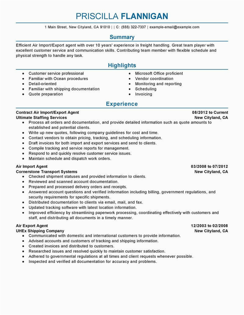 air import export agent resume example