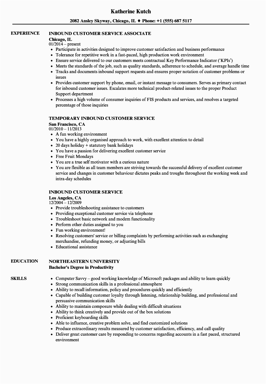Sample Resume for Inbound Customer Service Representative Inbound Customer Service Resume Samples