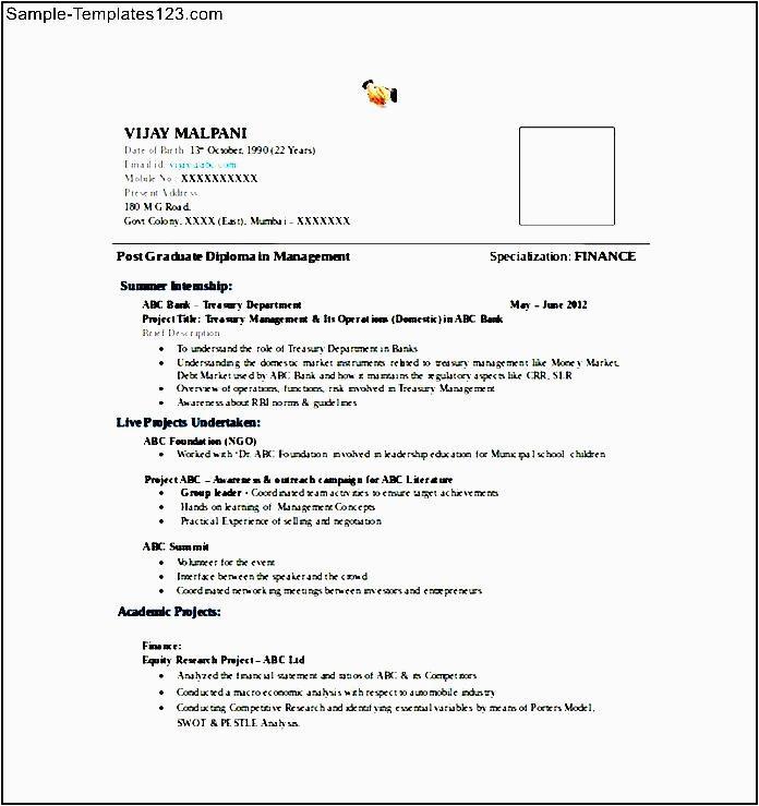 mba finance fresher resume word format free