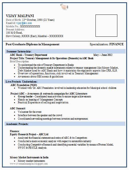 resume format for mba finance fresher
