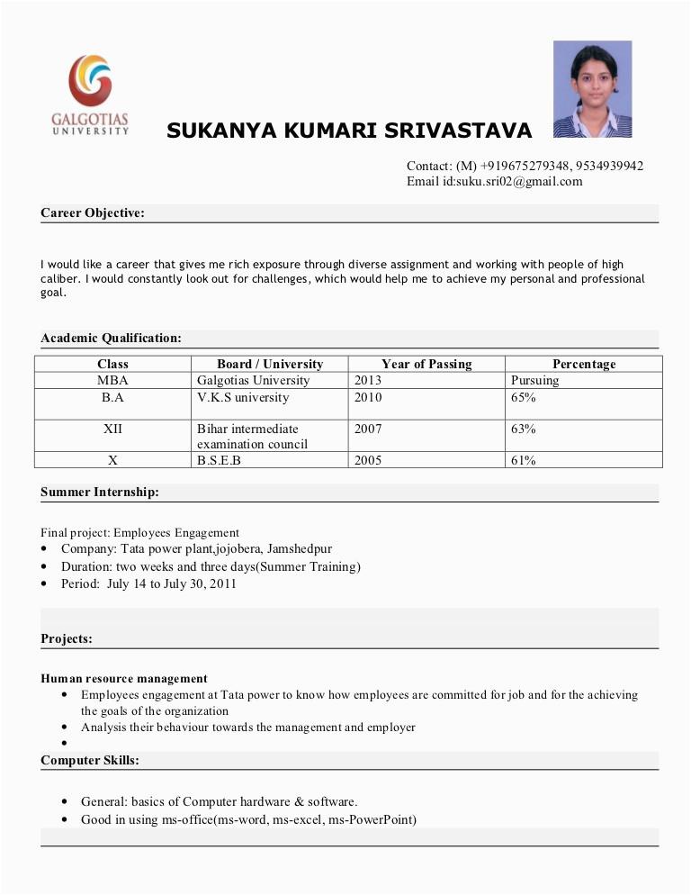 Sample Resume for Mba Freshers Pdf Free Download Mba Fresher Resume format
