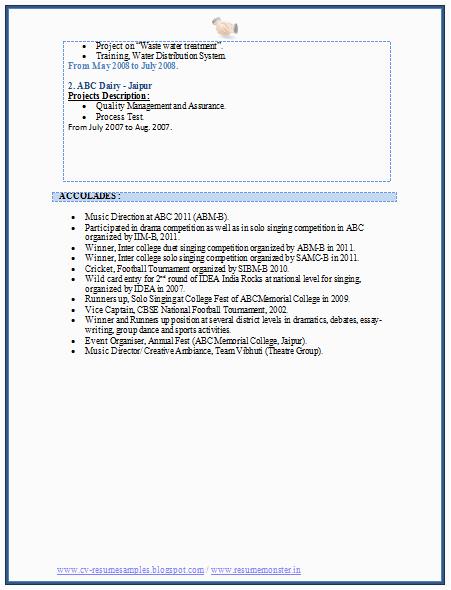 mba marketing experience resume sample
