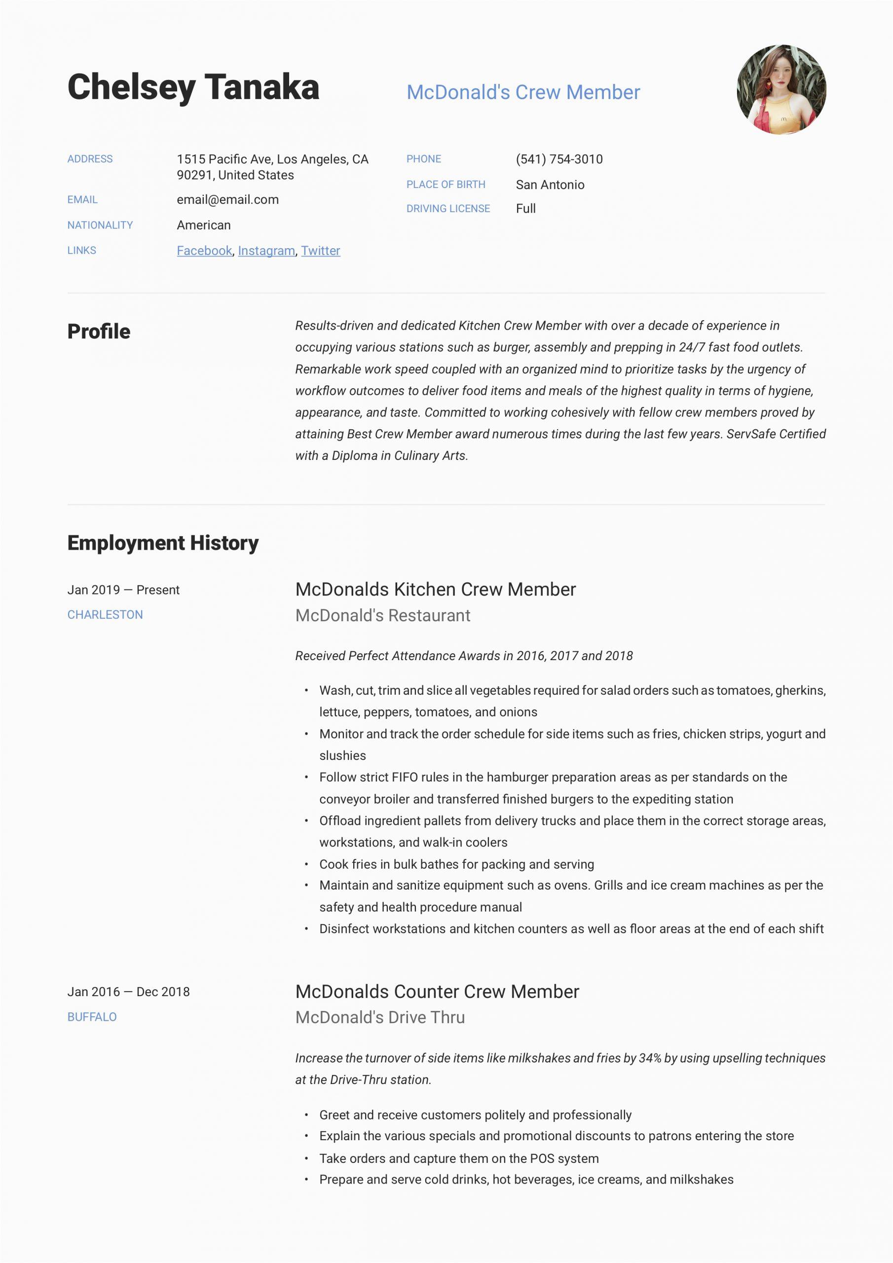 Sample Resume for Mcdonalds Crew Member Mcdonalds Crew Member Resume & Writing Guide
