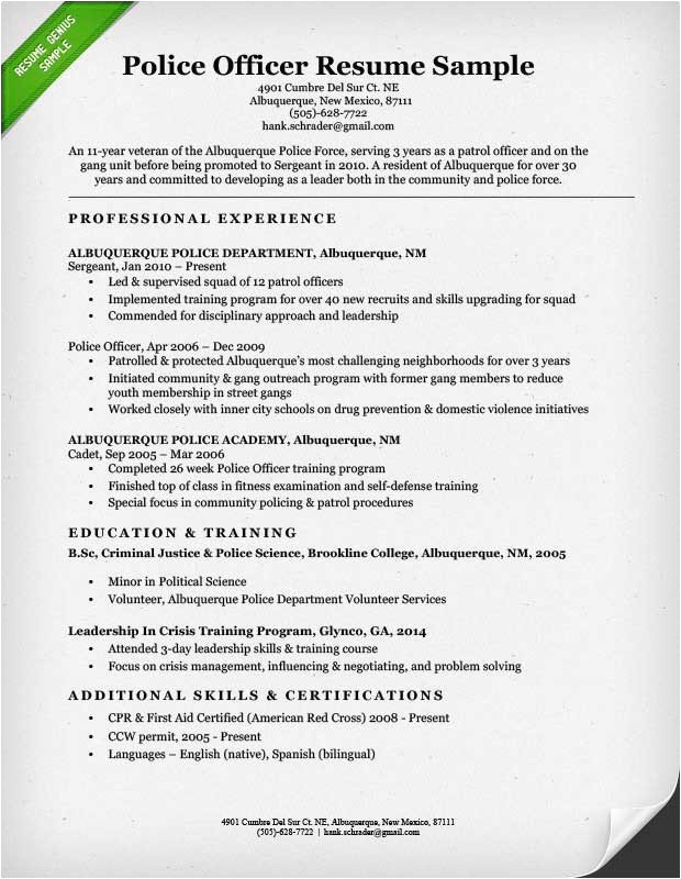 sample resume for police officer with no experience