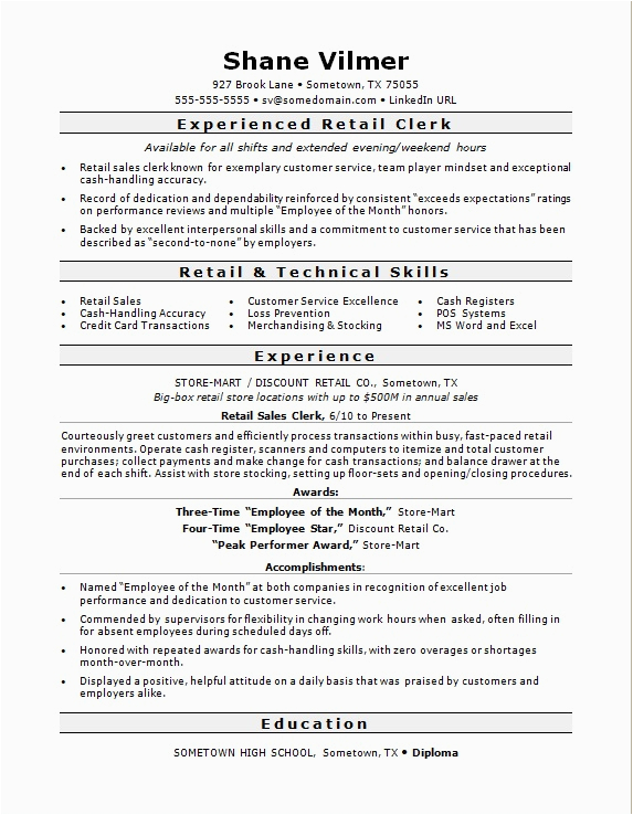 Sample Resume for Sales Clerk with Experience Retail Sales Clerk Resume Sample
