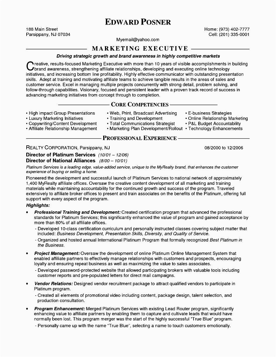 resume for marketing executive fresher
