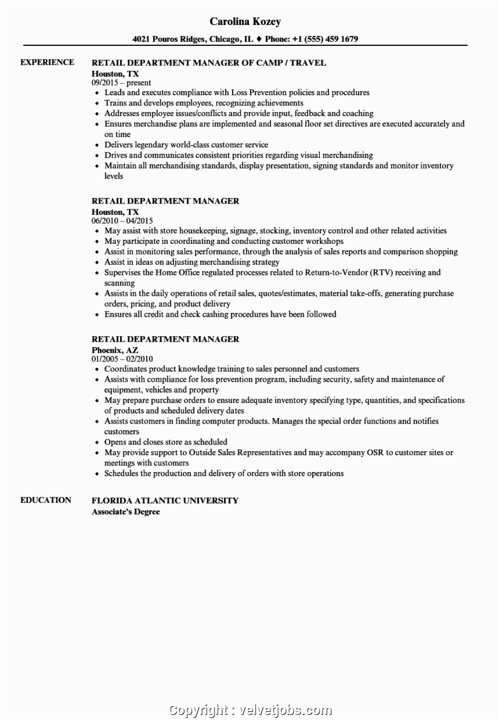 executive retail department manager resume