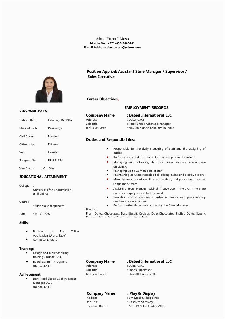 Sample Resume for Sales Lady In Department Store Sample Resume Sales Lady Dcarmina