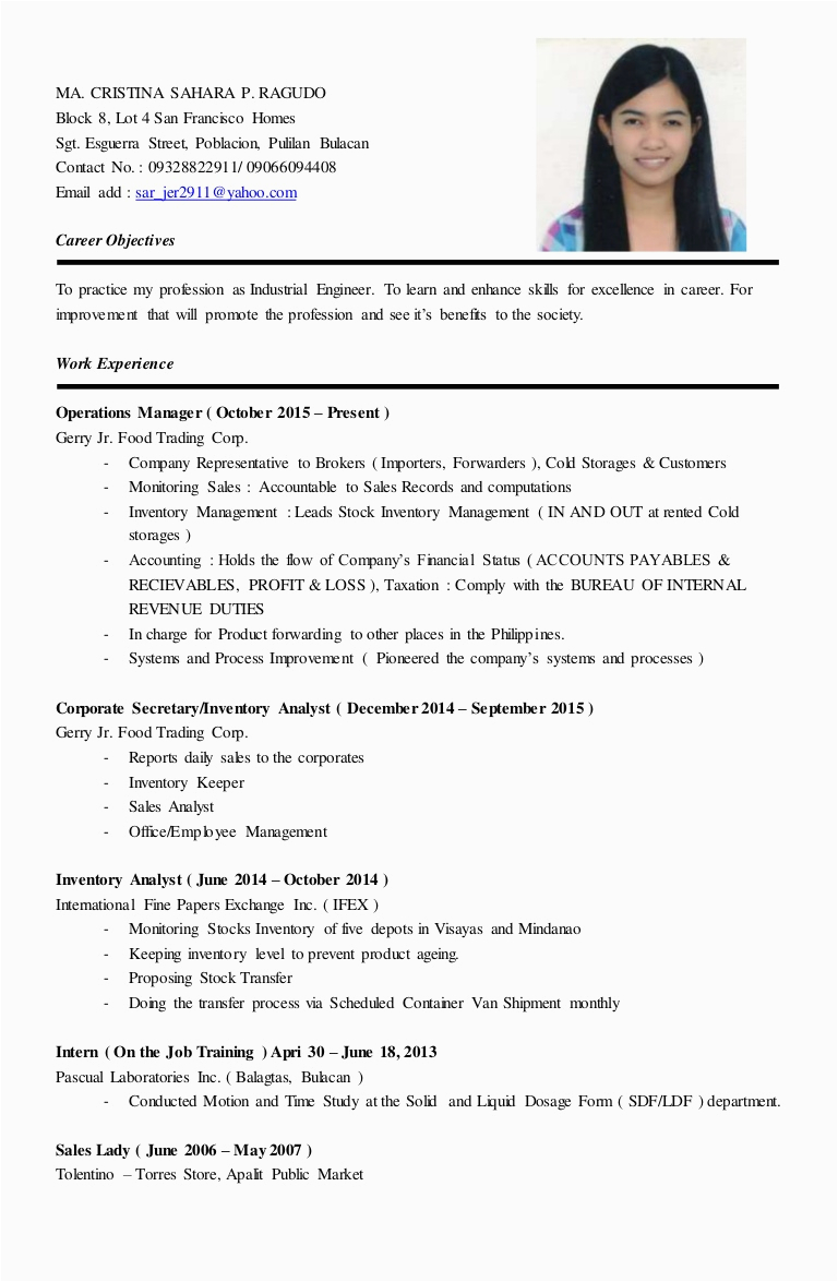 Sample Resume for Sales Lady Position Sample Resume for Sales Lady Position