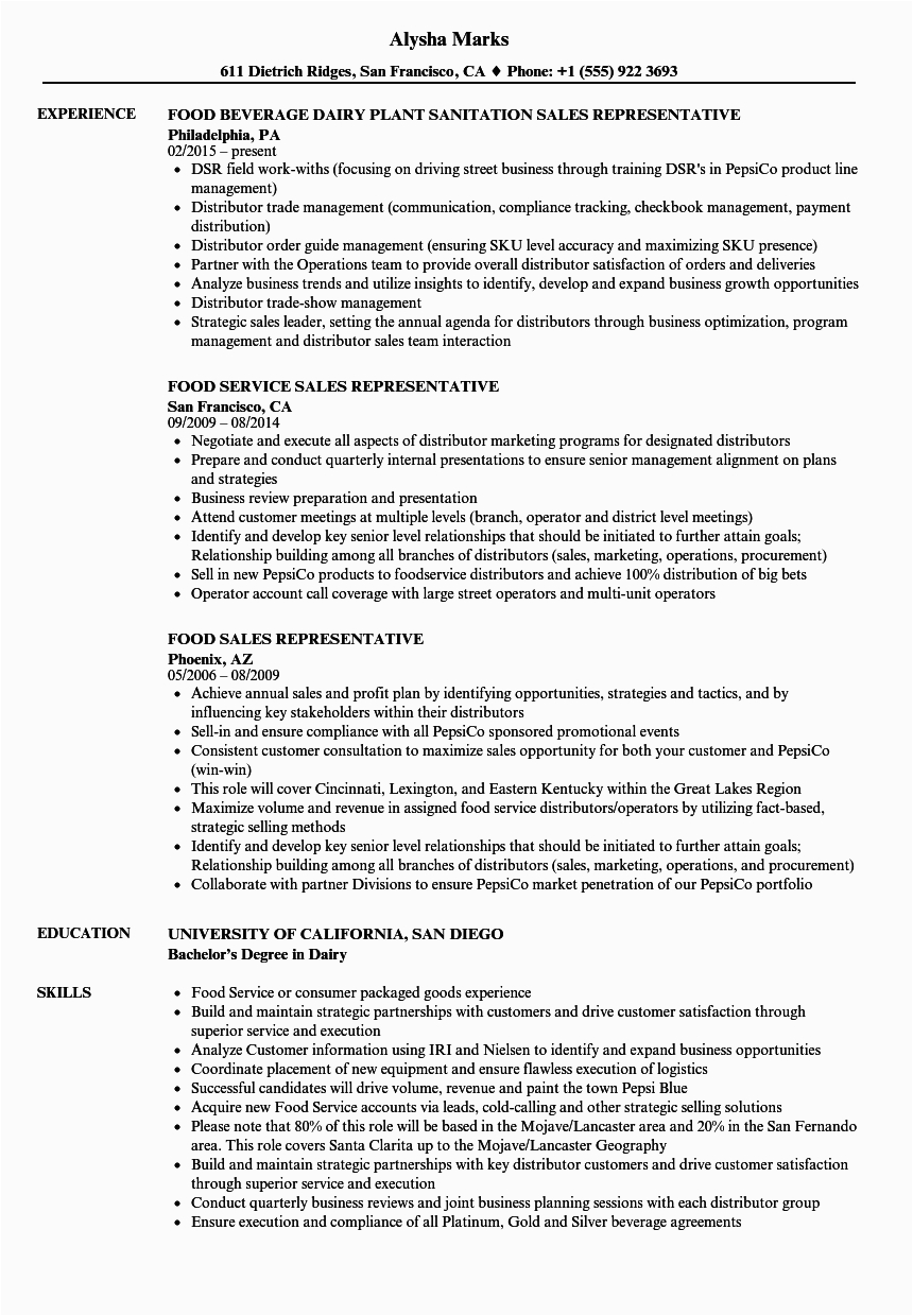 resume examples for sales position