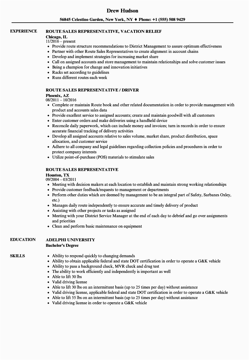 sample resume templates for sales rep