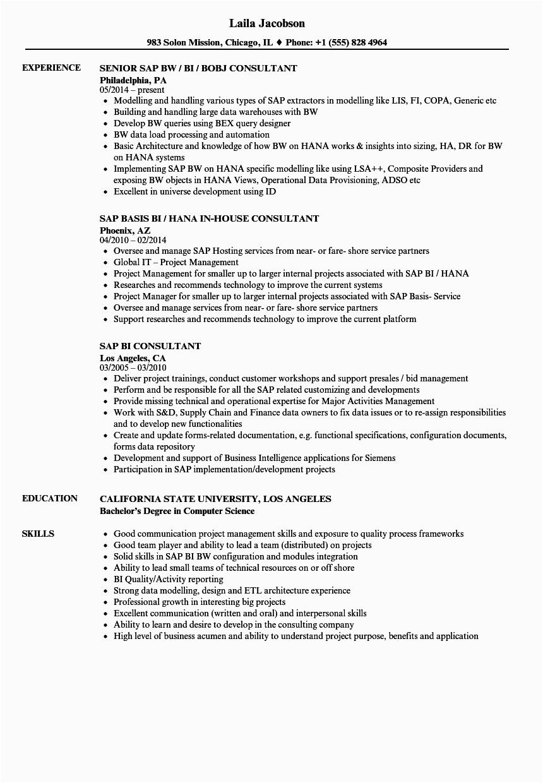 Sample Resume for Sap Bi Consultant Sap Bi Consultant Resume Samples