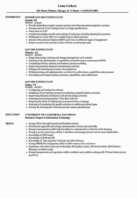 Sample Resume for Sap Mm Consultant Sap Mm Consultant Resume Samples