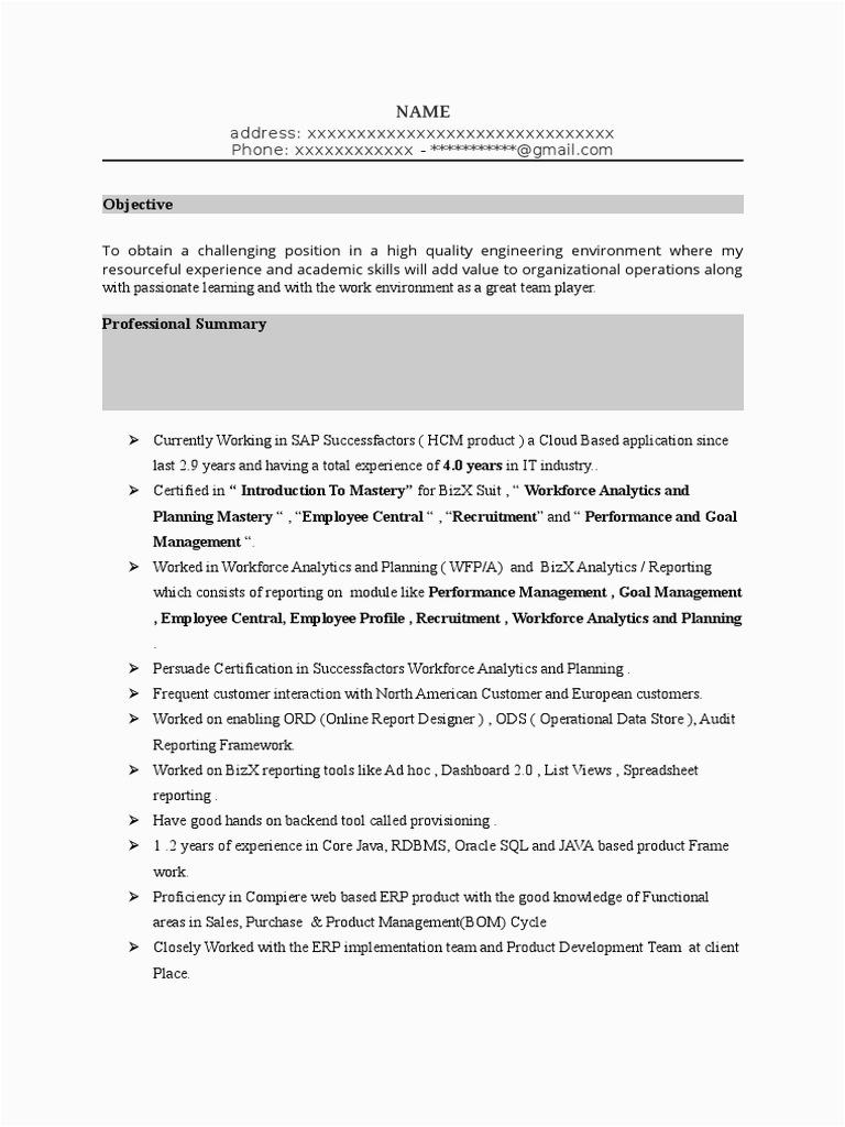 SAP SuccessFactors LMS Sample Resume 2