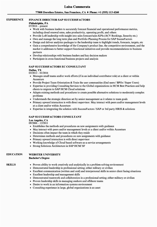 Sample Resume for Sap Successfactors Consultant Sap Successfactors Resume Samples