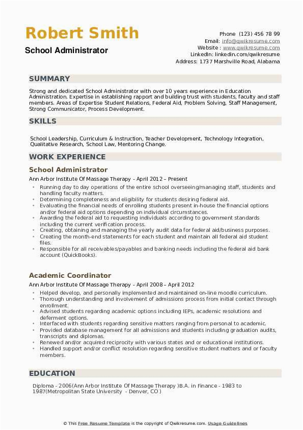 Sample Resume for School Administrator In India School Administrator Resume Samples