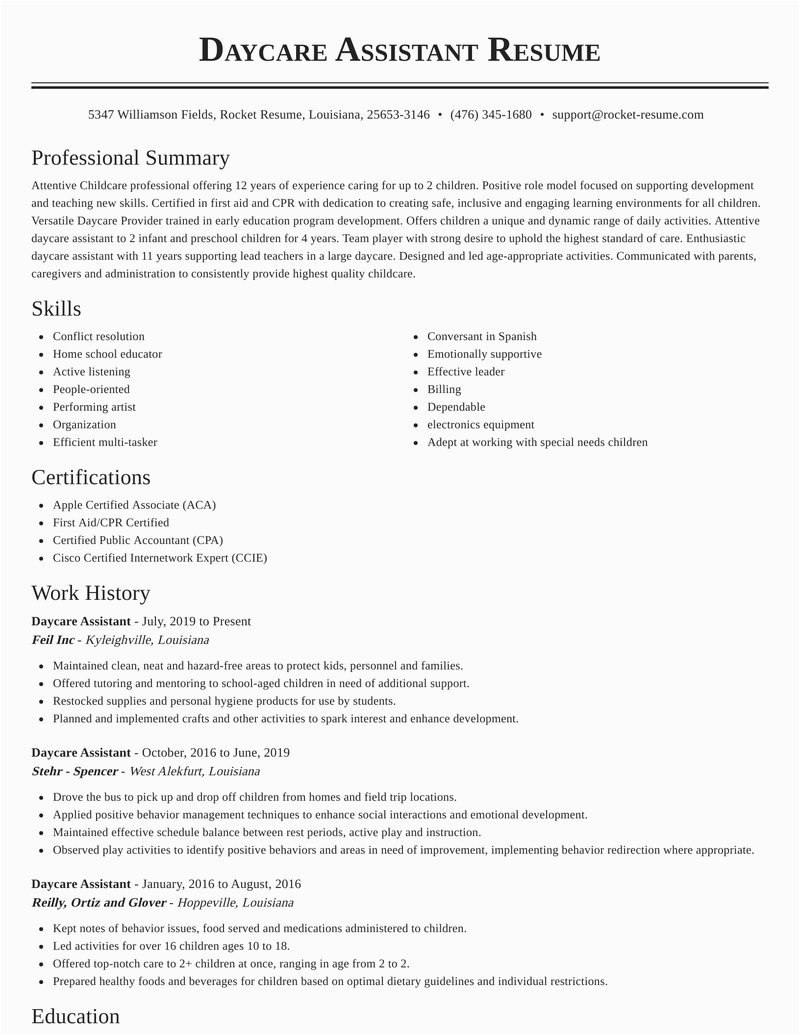 daycare assistant career resumes templates and suggestions