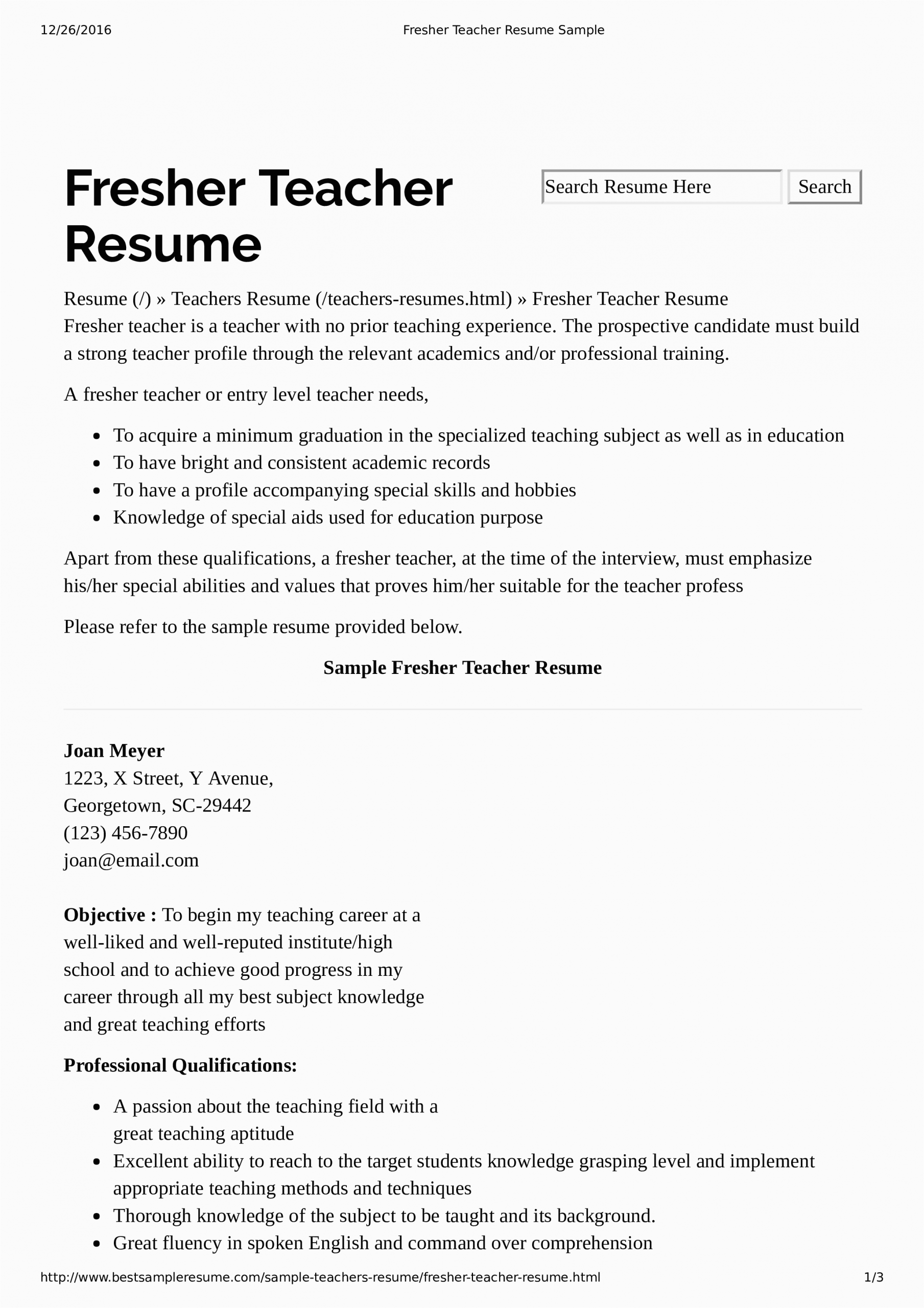 preschool teacher resume without experience