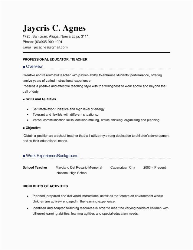 teacher applicant sample resume for
