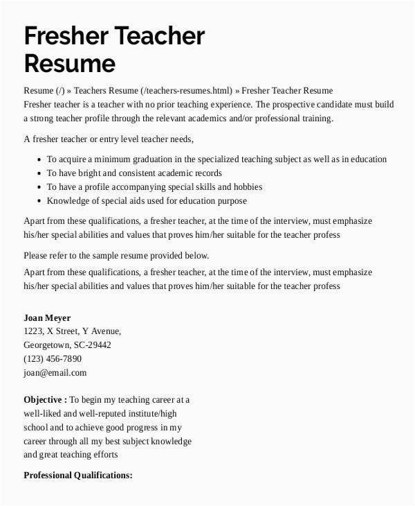 preschool teacher resume
