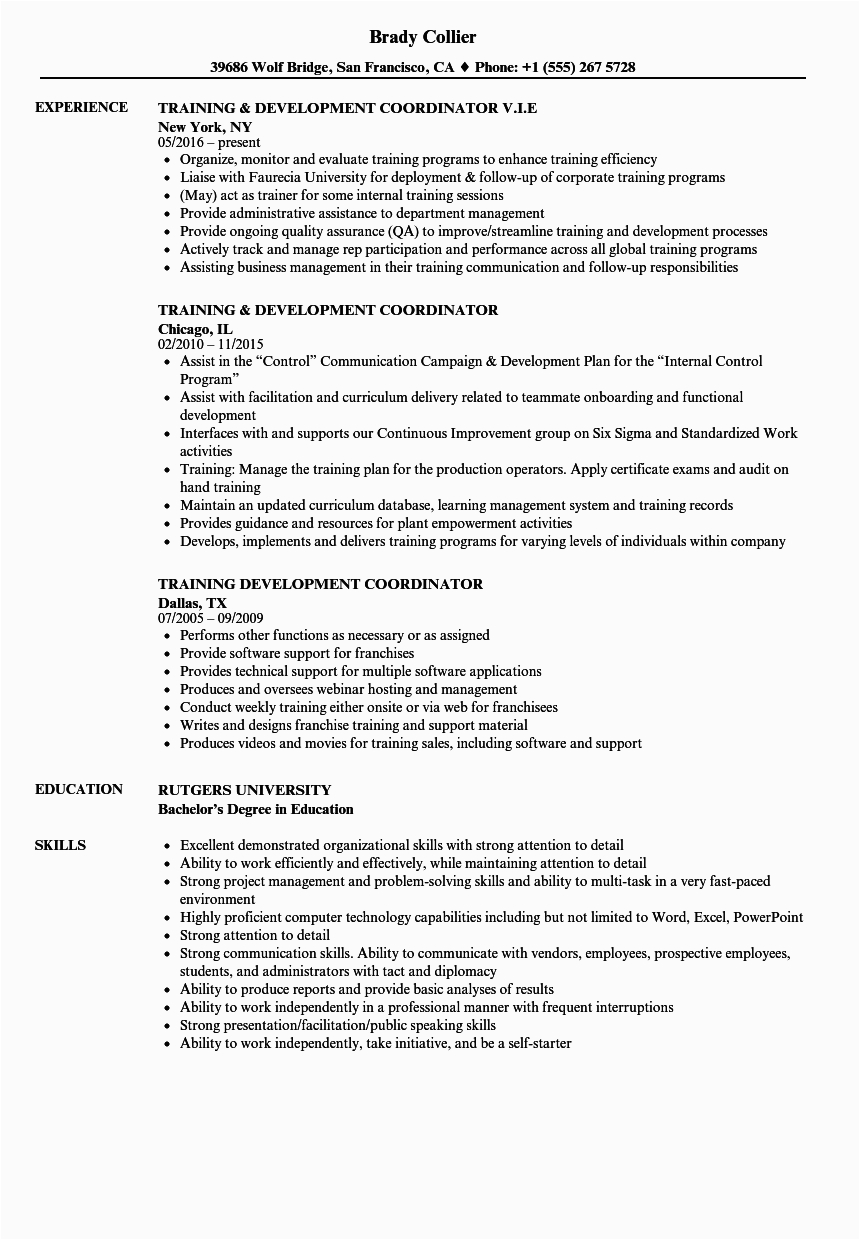 Sample Resume for Training and Development Coordinator Child Care Education Coordinator Cv March 2021