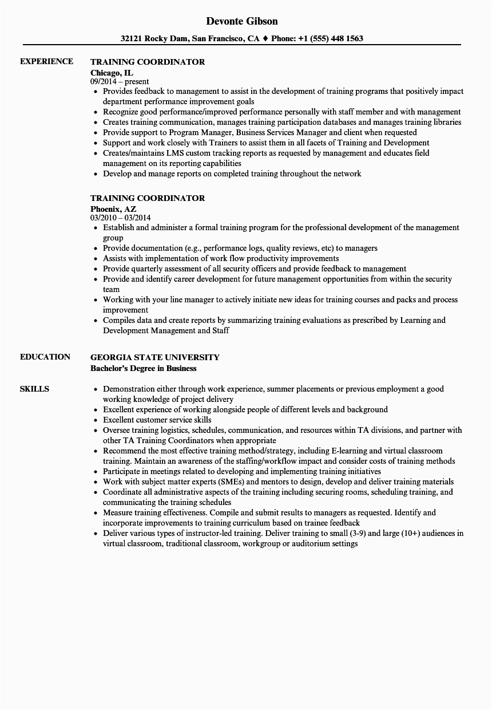training coordinator resume sample