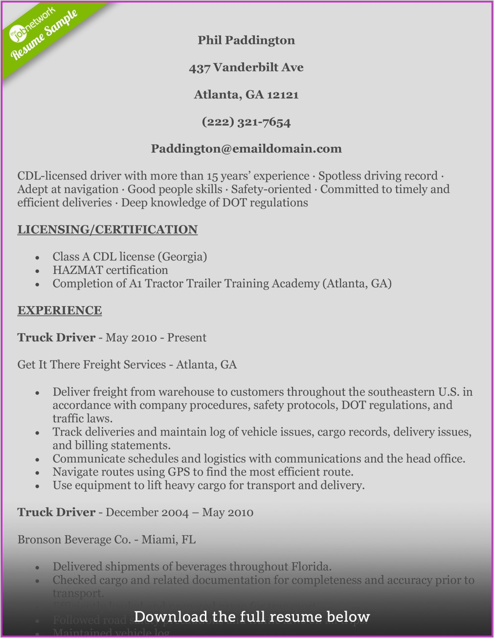 resume for truck driver with no experience