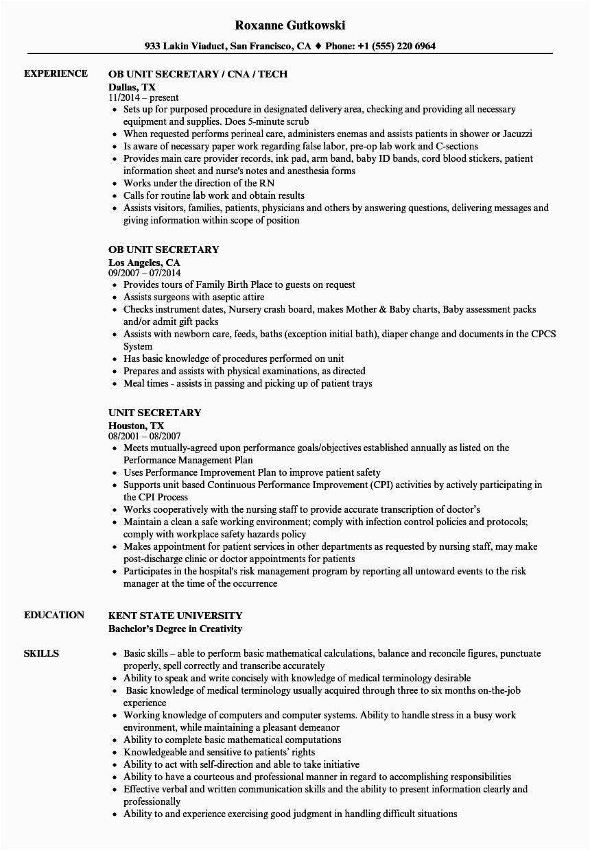 Sample Resume for Unit Secretary In A Hospital Hospital Unit Secretary Resume Resume Template Database