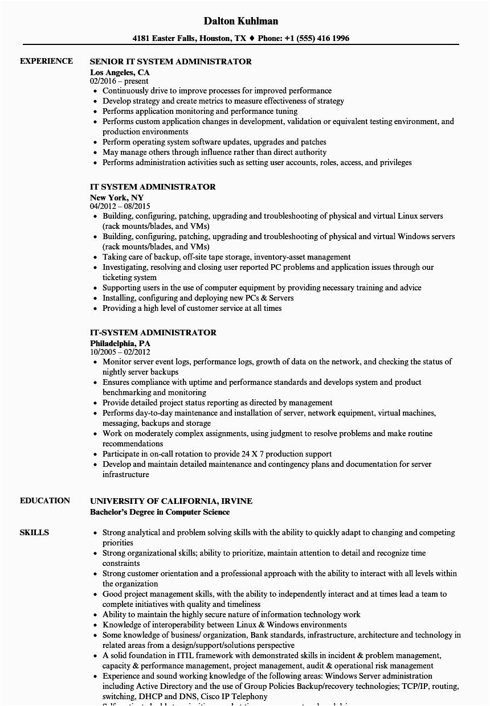 senior unix system administrator resume