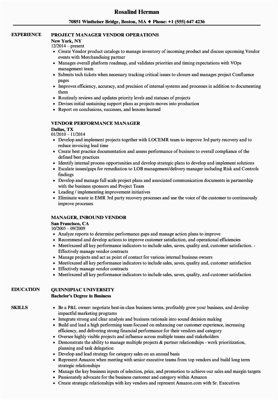 manager vendor manager resume sample