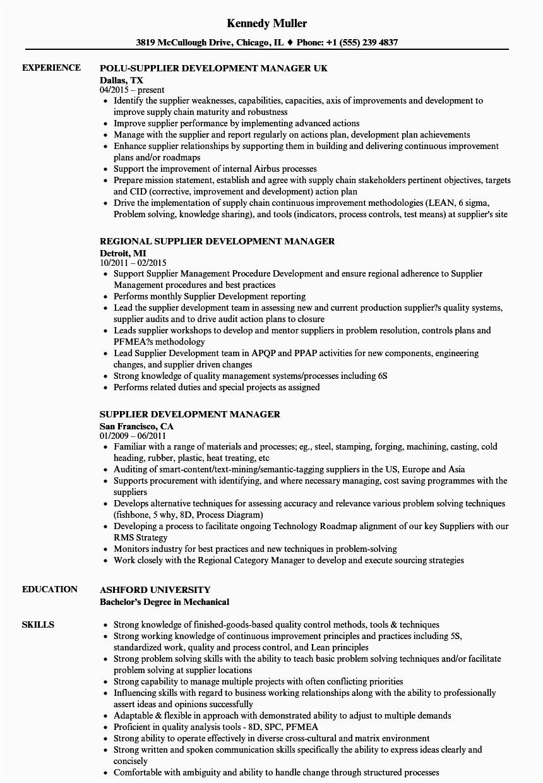 supplier development manager resume sample