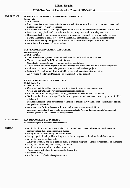 vendor management associate resume sample