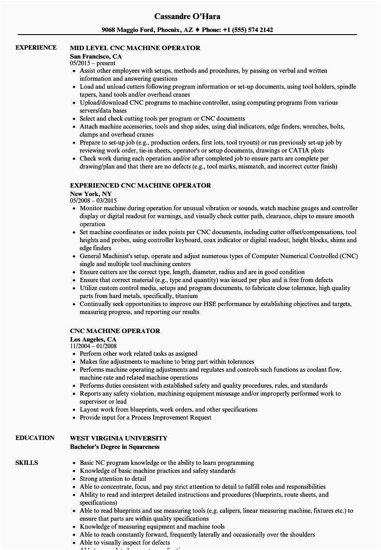 Sample Resume for Vmc Setter Responsibilities Machine Operator Skills Resume Mryn ism