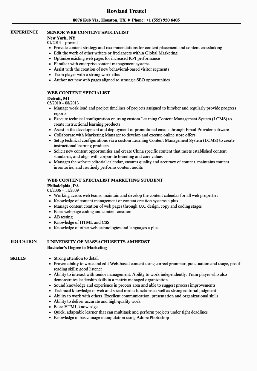 Sample Resume for Web Content Manager Content Creator Resume Examples Best Resume Examples