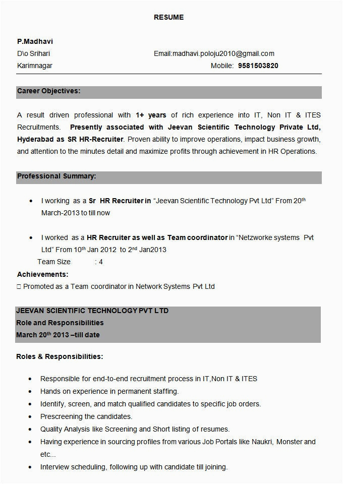 Sample Resume format for Experienced Person Resume Experienced Person