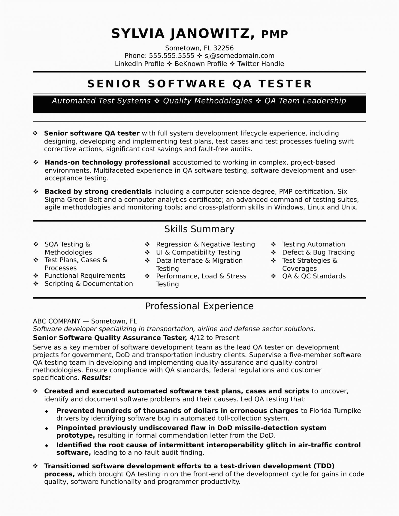 Sample Resume format for Experienced software Test Engineer Experienced Qa software Tester Resume Sample