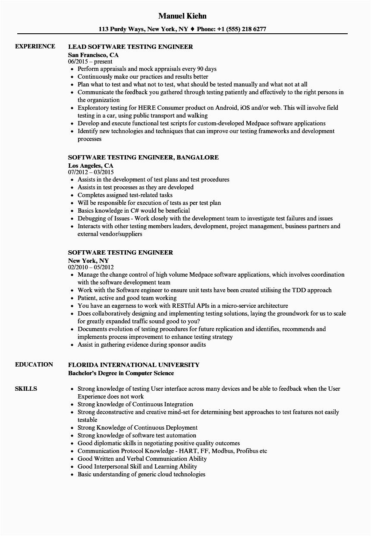 software testing engineer resume sample