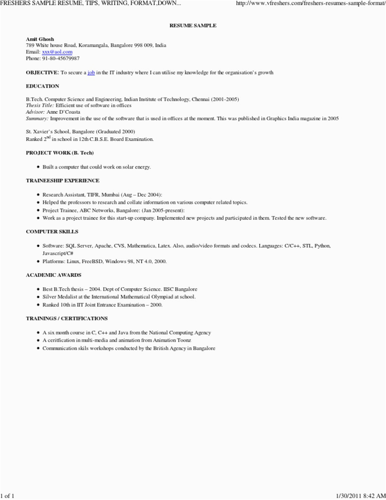 FRESHERS SAMPLE RESUME TIPS WRITING FORMAT DOWNLOAD FREE EXAMPLE Freshers Jobs India