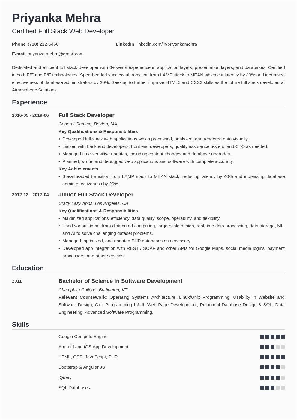 full stack developer resume example