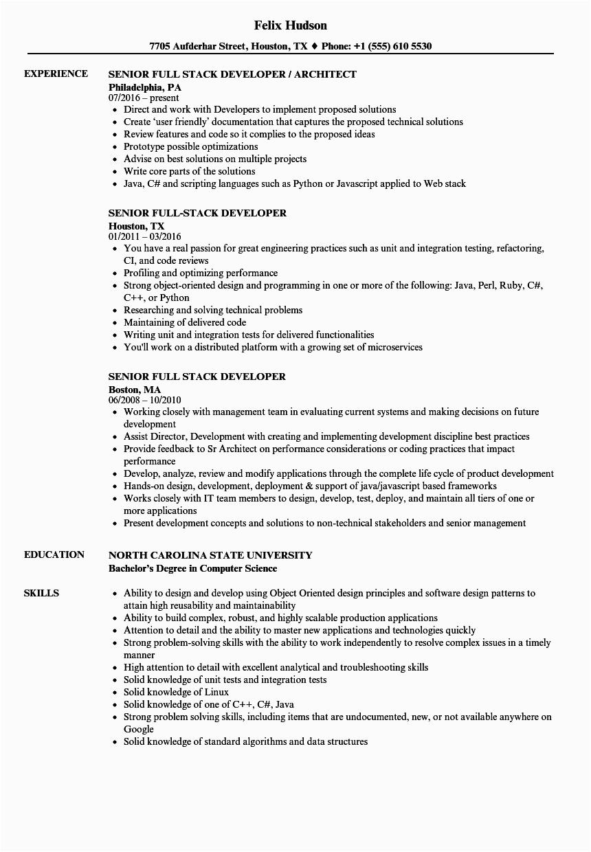 senior full stack developer resume sample