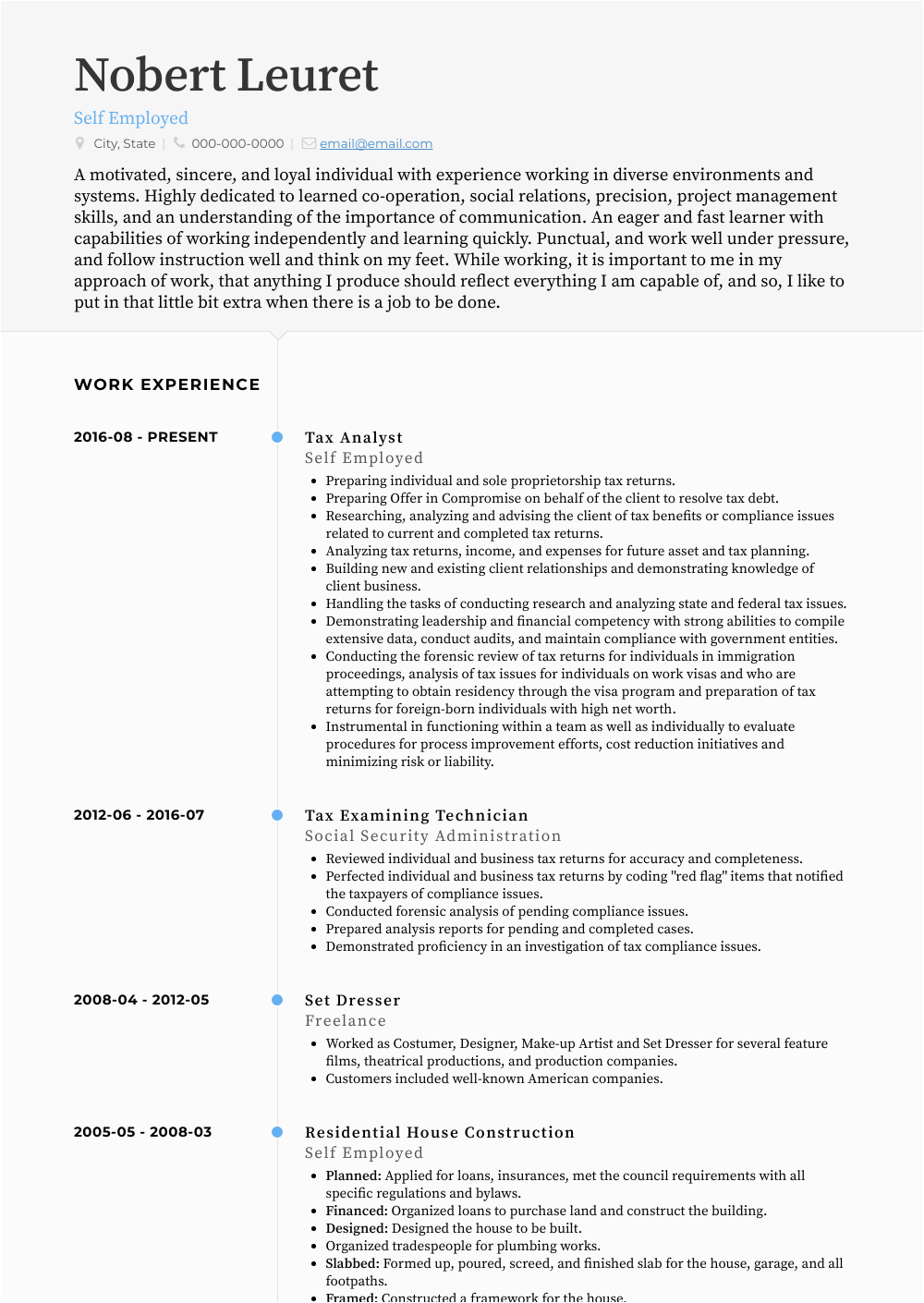 Sample Resume Of Self Employed Person Resumes for Self Employed Mryn ism