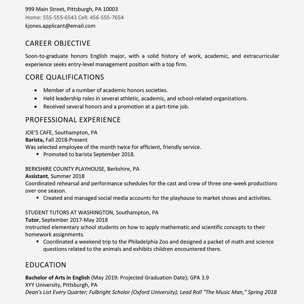 high school graduate resume example with work experience