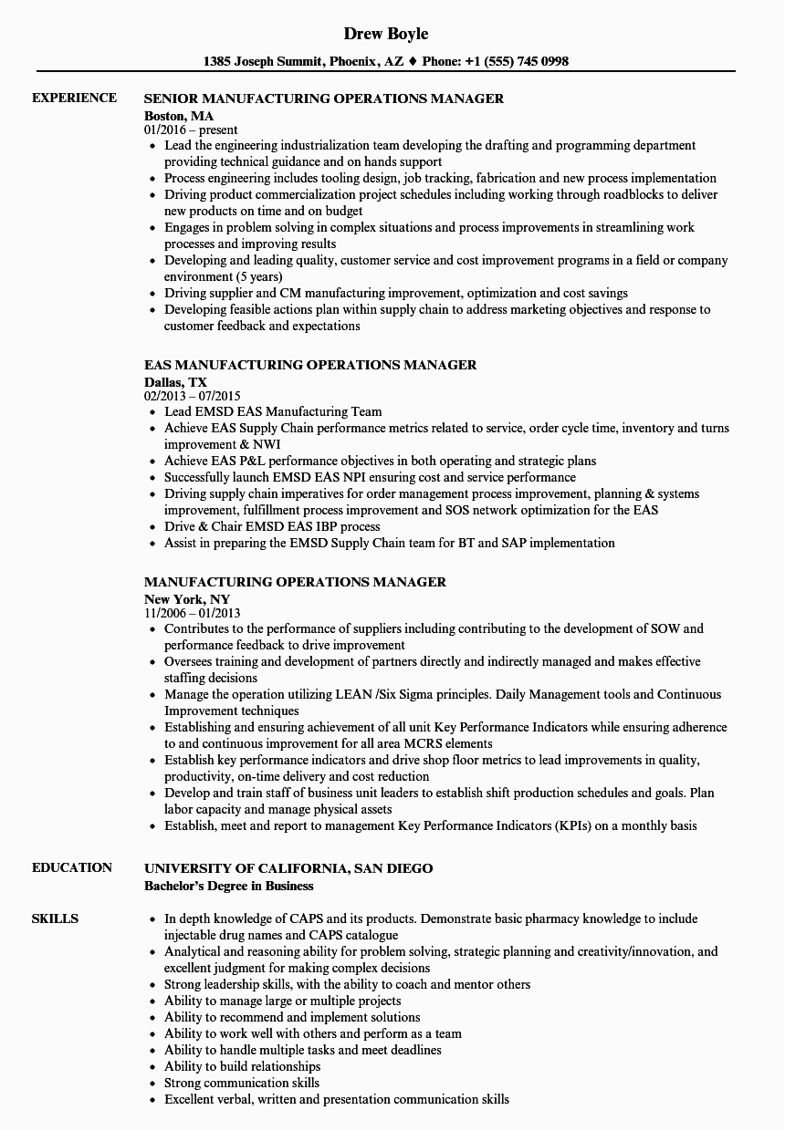 Sample Resume Operations Manager In Manufacturing Operations Manager Job Descriptions Free Resume Templates