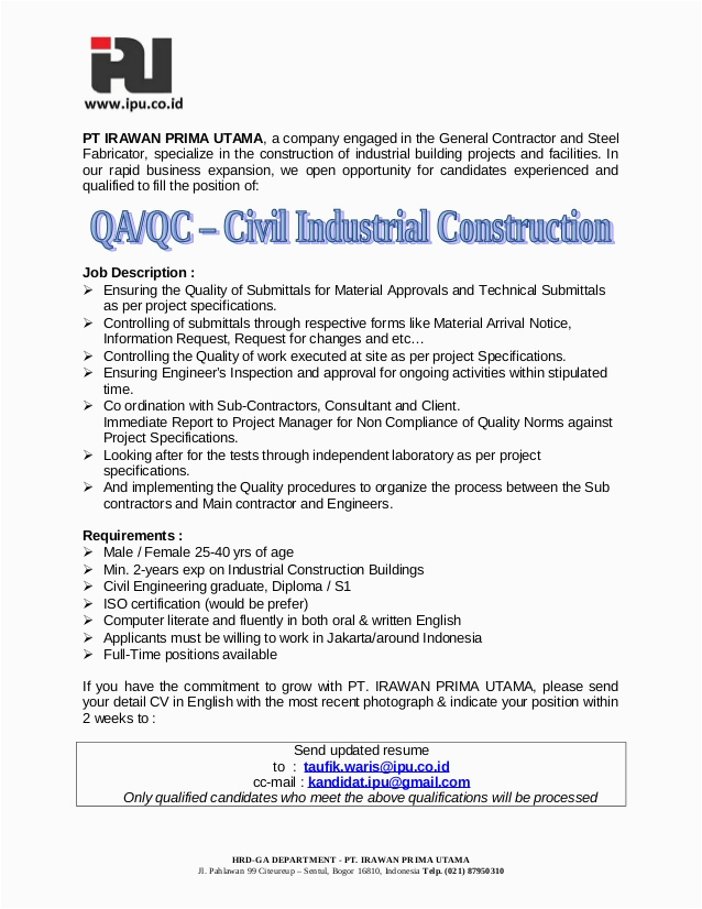 quality control civil engineer cv samples