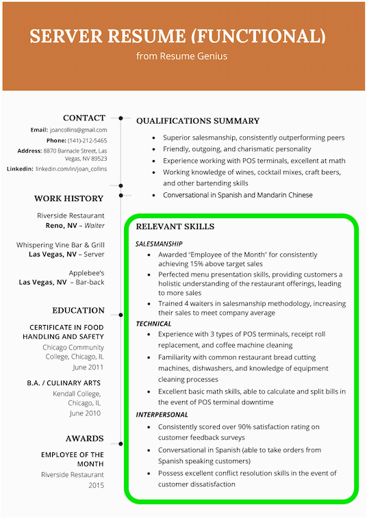 skills section of resume
