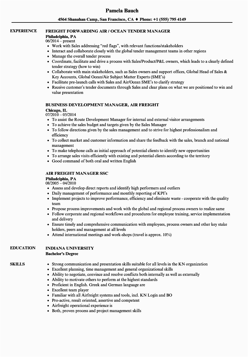 air freight manager resume sample