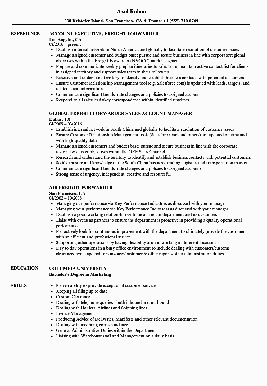 Sample Resume Sales Executive Freight forwarding Sample Resume Sales Executive Freight forwarding Dhl